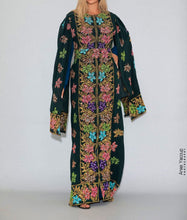 Distinctive Deep Green Grape Leaves Palestinian Embroidered Colorful Zippered Abaya Slit Sleeve