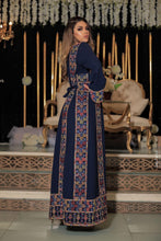 Classy Navy Palestinian Embroidered Thobe Dress With Multicolored Embroidery
