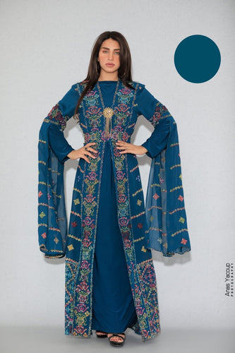 Distinctive Turquoise Palestinian Embroidered Colorful Open Chiffon 180 Colors Abaya Slit Sleeve