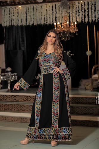Classy Black Palestinian Embroidered Thobe Dress With Dark Multicolored Embroidery