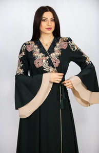Elegant Side Tie Smooth Green Abaya With Floral Details