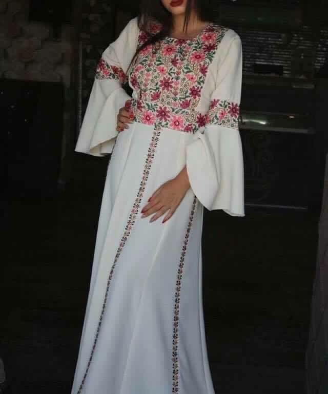 Off-white Palestinian Thobe Caftan Maxi Dress Floral High Quality Stylish Embroidery