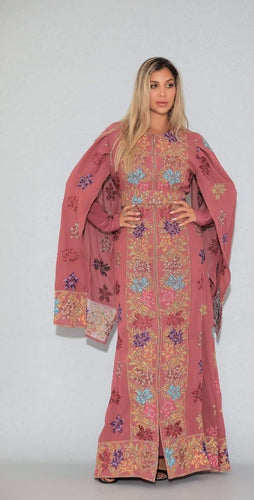 Distinctive Pink Grape Leaves Palestinian Embroidered Colorful Zippered Abaya Slit Sleeve