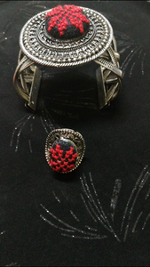 Black and red embroidered accessories set(bracelet and ring) - Falastini Brand