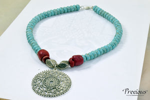 Precious - Blue turquoise and red coral stone with silver colored metal necklace - Falastini Brand