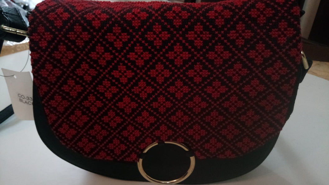 Black handbag with red flower embroidery