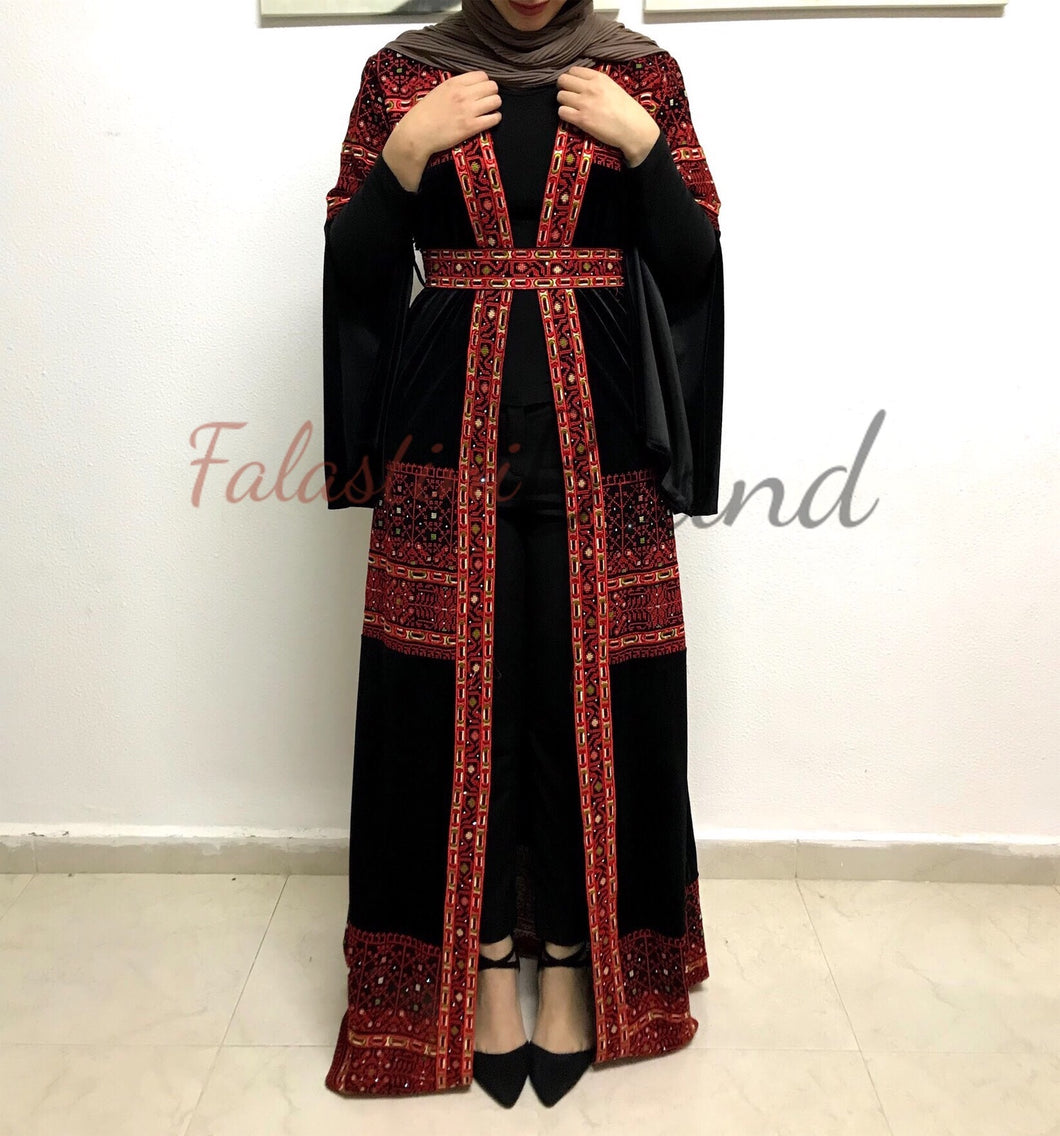 Velvet Dantel Black And Red Embroidered Palestinian Open Abaya