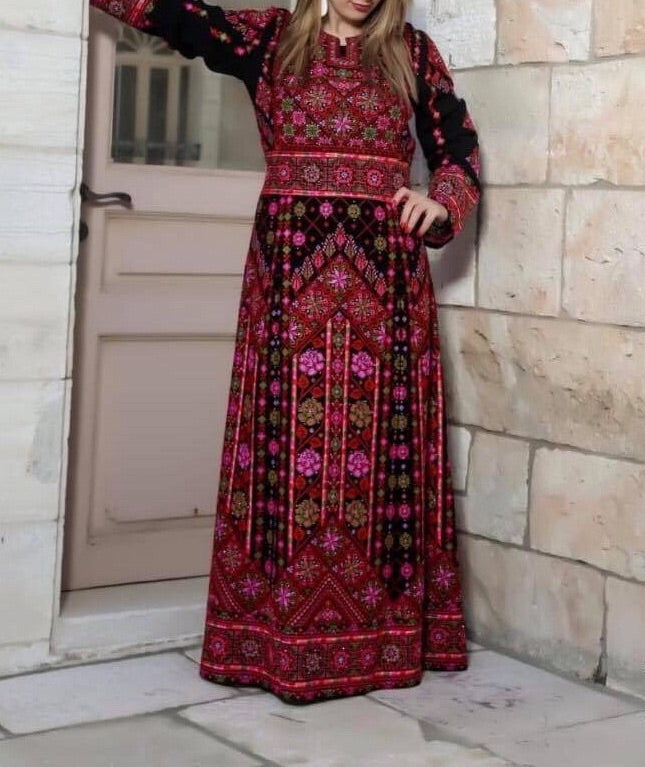 Red Palestinian Floral Embroidered Thobe Maxi Dress Long Sleeves Kaftan Palestinian Design And Embroidery
