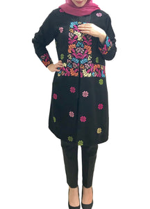 Black embroidered light jacket/cardigan with multicolor flower embroidery