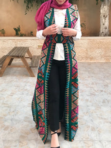 Amazing All Long Colorful Rainbow Embroidery Palestinian Open Sleeveless Abaya Vest