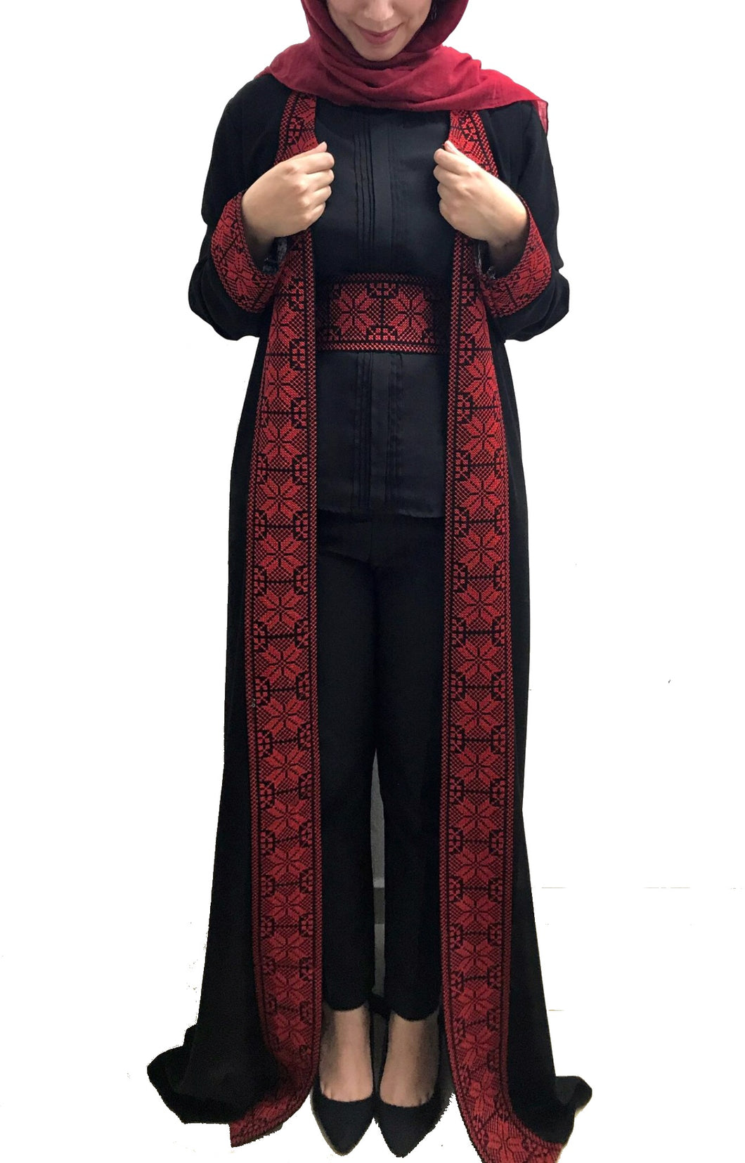 Black embroidered abaya/maxi jacket with stylish red embroidery