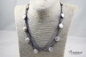Precious - Fresh water pearl with 925 antique silver 5 layered necklace - Falastini Brand