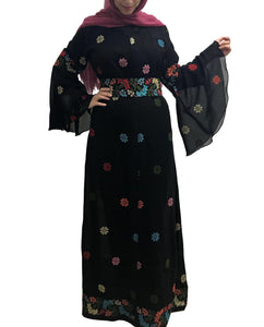 Black embroidered floral abaya with matching floral embroidered belt