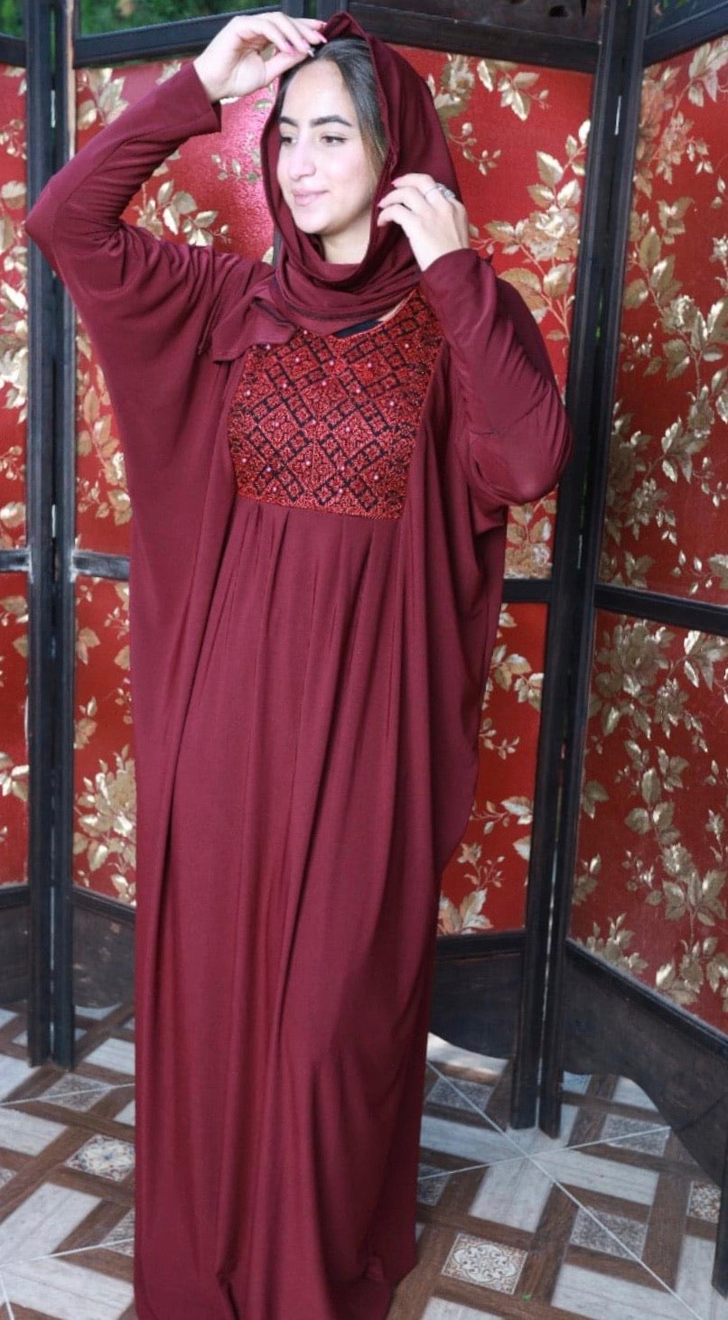 Free Size Embroidered Maroon Prayer Dress Hijab Scarf Islamic Abaya Lycra Soft Prayer Clothes