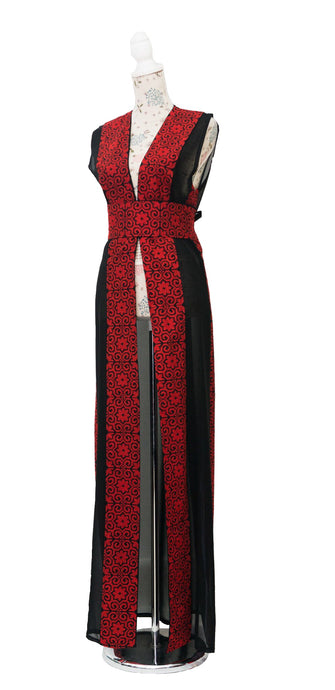 Black maxi embroidered vest with red embroidery