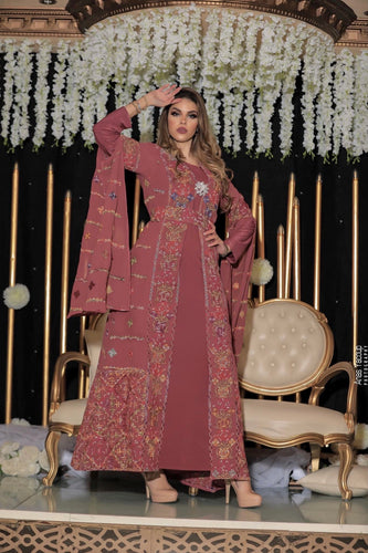 Distinctive Pink Palestinian Embroidered Colorful Open Chiffon 180 Colors Abaya Slit Sleeve