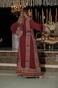 Classy Burgundy Palestinian Embroidered Thobe Dress With Multicolored Embroidery