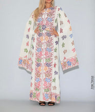Distinctive White Grape Leaves Palestinian Embroidered Colorful Zippered Abaya Slit Sleeve