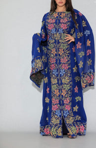 Distinctive Royal Blue Grape Leaves Palestinian Embroidered Colorful Zippered Abaya Slit Sleeve