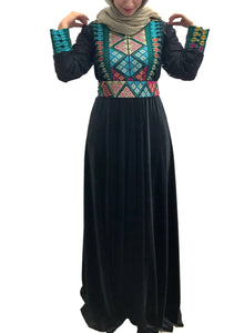 Stylish black velvet embroidered maxi dress