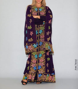 Distinctive Purple Grape Leaves Palestinian Embroidered Colorful Zippered Abaya Slit Sleeve