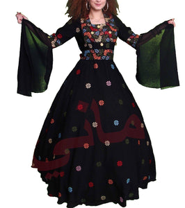 Long black dress with embroiderd multicolored flowers