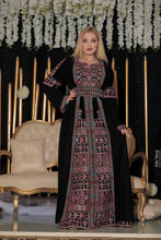 Amazing Black & Pink Wing Dress Palestinian Embroidered Thobe Long Sleeves