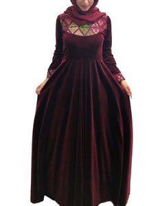 Red velvet embroidered maxi dress