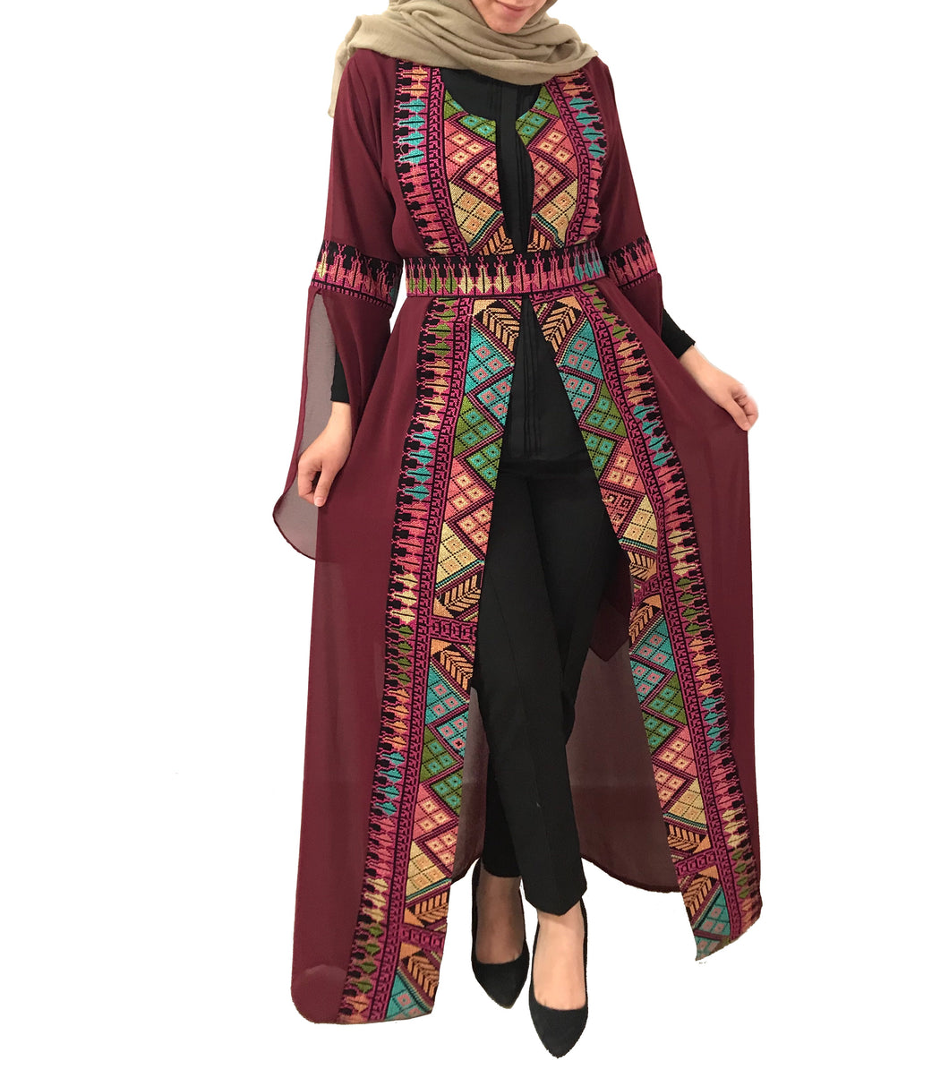 Burgundy Embroidered Open Abaya Kaftan Maxi Dress Long Open Bell Sleeves