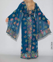 Distinctive Turquoise Grape Leaves Palestinian Embroidered Colorful Zippered Abaya Slit Sleeve