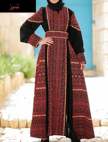 Gorgeous Black Long Dress with Sleeves Red Embroidered Front