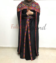Velvet 2 Pieces Royal Black Open Abaya Cape With Fabulous Embroidery Long Slit Sleeves
