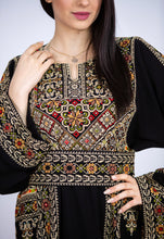 Amazing Black And Golden Palestinian Embroidered Thobe Dress Long Sleeves Cross Stitch Embroidery