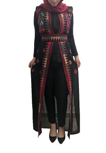 Black embroidered maxi vest with multicolor stylish embroidery
