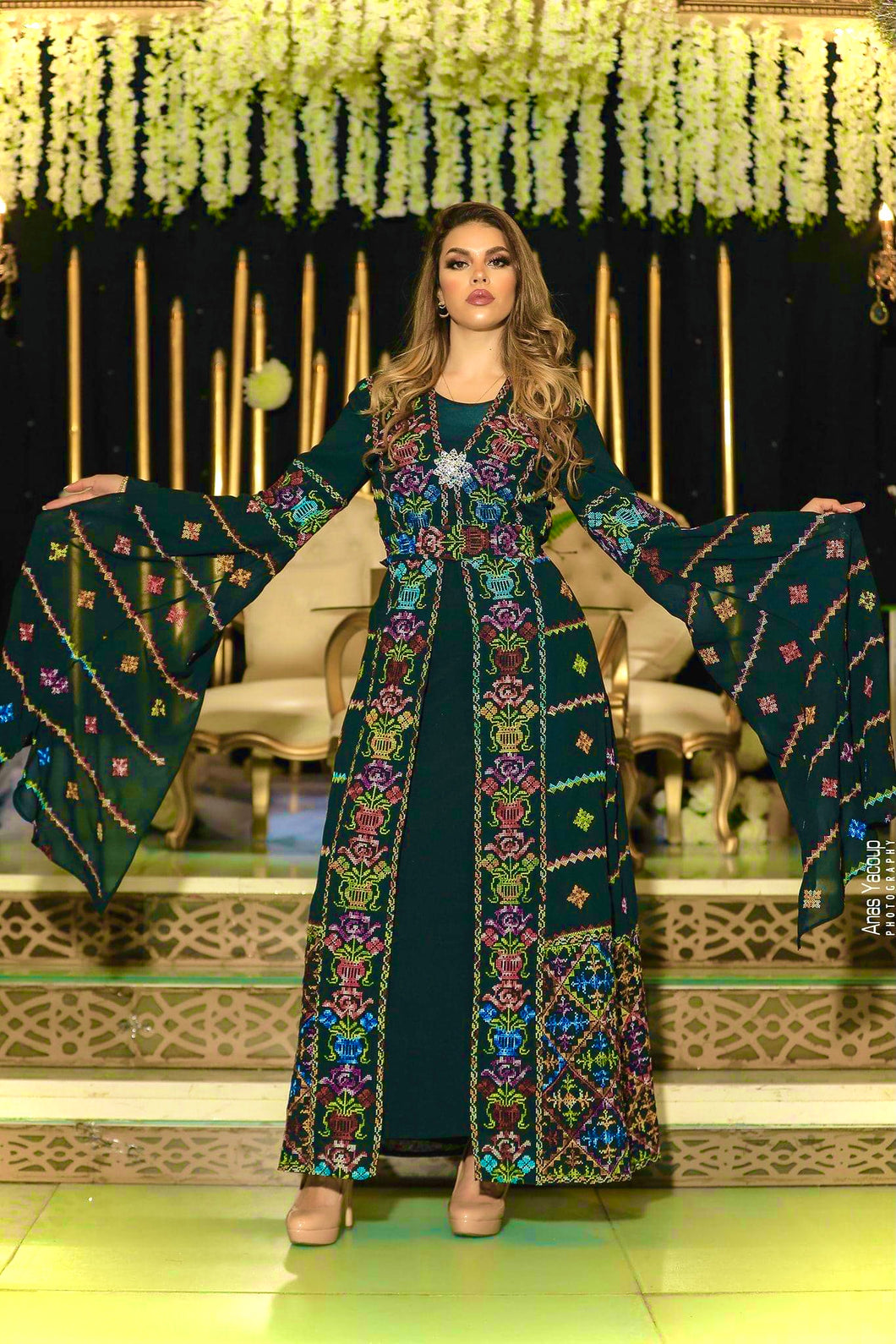 Distinctive Deep Green Palestinian Embroidered Colorful Open Chiffon 180 Colors Abaya Slit Sleeve