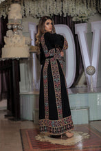 Classy Black Palestinian Embroidered Thobe Dress With Multicolored Embroidery