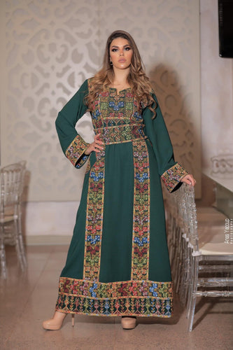 Classy Green Palestinian Embroidered Thobe Dress With Multicolored Embroidery