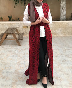Amazing All Long Red Embroidery Palestinian Open Sleeveless Abaya Vest