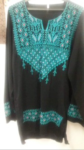 Embroidered black blouse with red embroidery