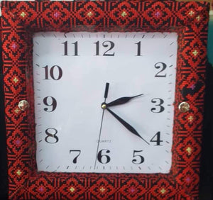Red embroidered wall clock