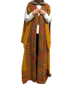 Mustard Georgette Embroidered Open Abaya Kaftan Maxi Dress Long Split Sleeve