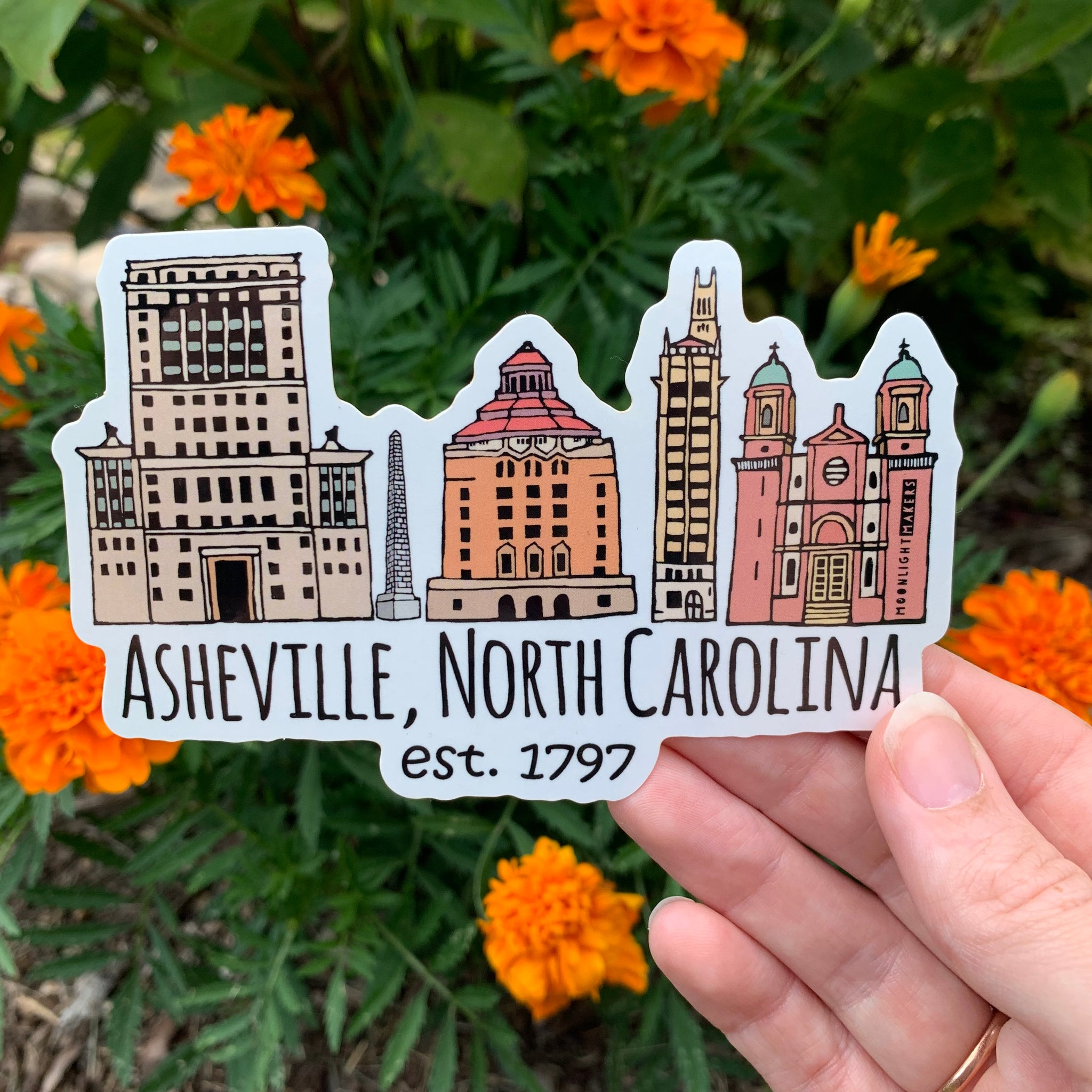 Downtown Historic Asheville, NC - Die Cut Sticker - MoonlightMakers