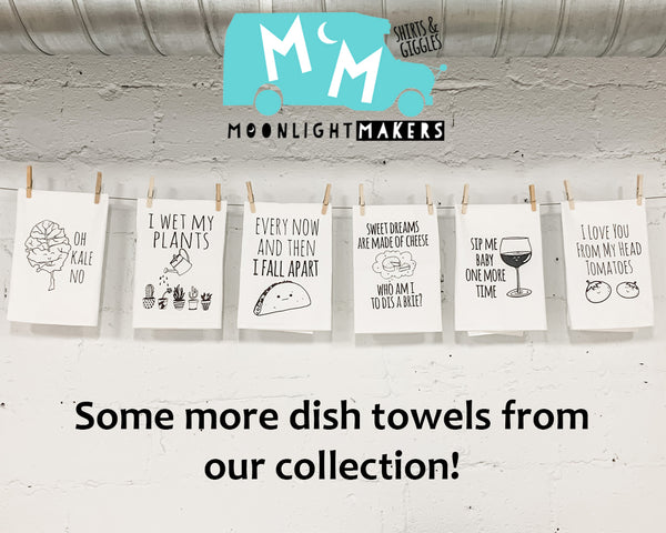 Dish Towel Gift Set of 3 ~ Mix and Match ~ Shiitake, Kale, Dill ~ White - MoonlightMakers