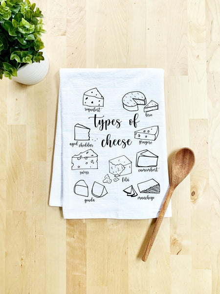 Types of Cheese Dish Towel - White Or Gray - MoonlightMakers