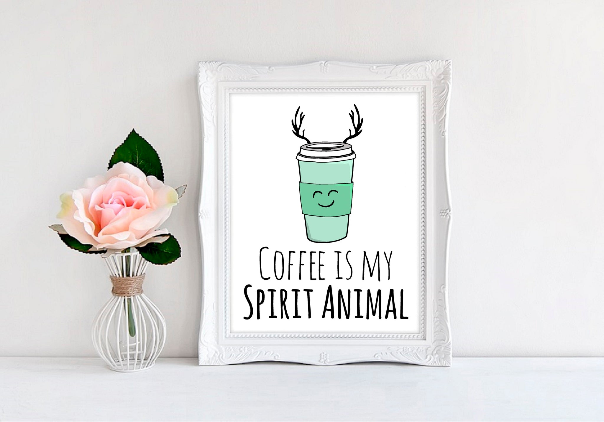 "Coffee Is My Spirit Animal - 8""x10"" Wall Print - MoonlightMakers"
