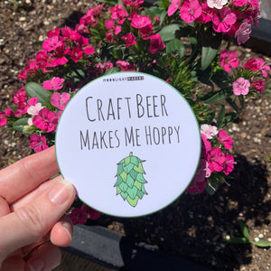 Craft Beer Makes Me Hoppy - Coaster - MoonlightMakers