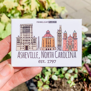 Downtown Historic Asheville, NC - Magnet - MoonlightMakers