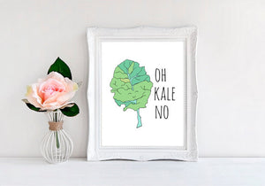 "Oh Kale No - 8""x10"" Wall Print - MoonlightMakers"