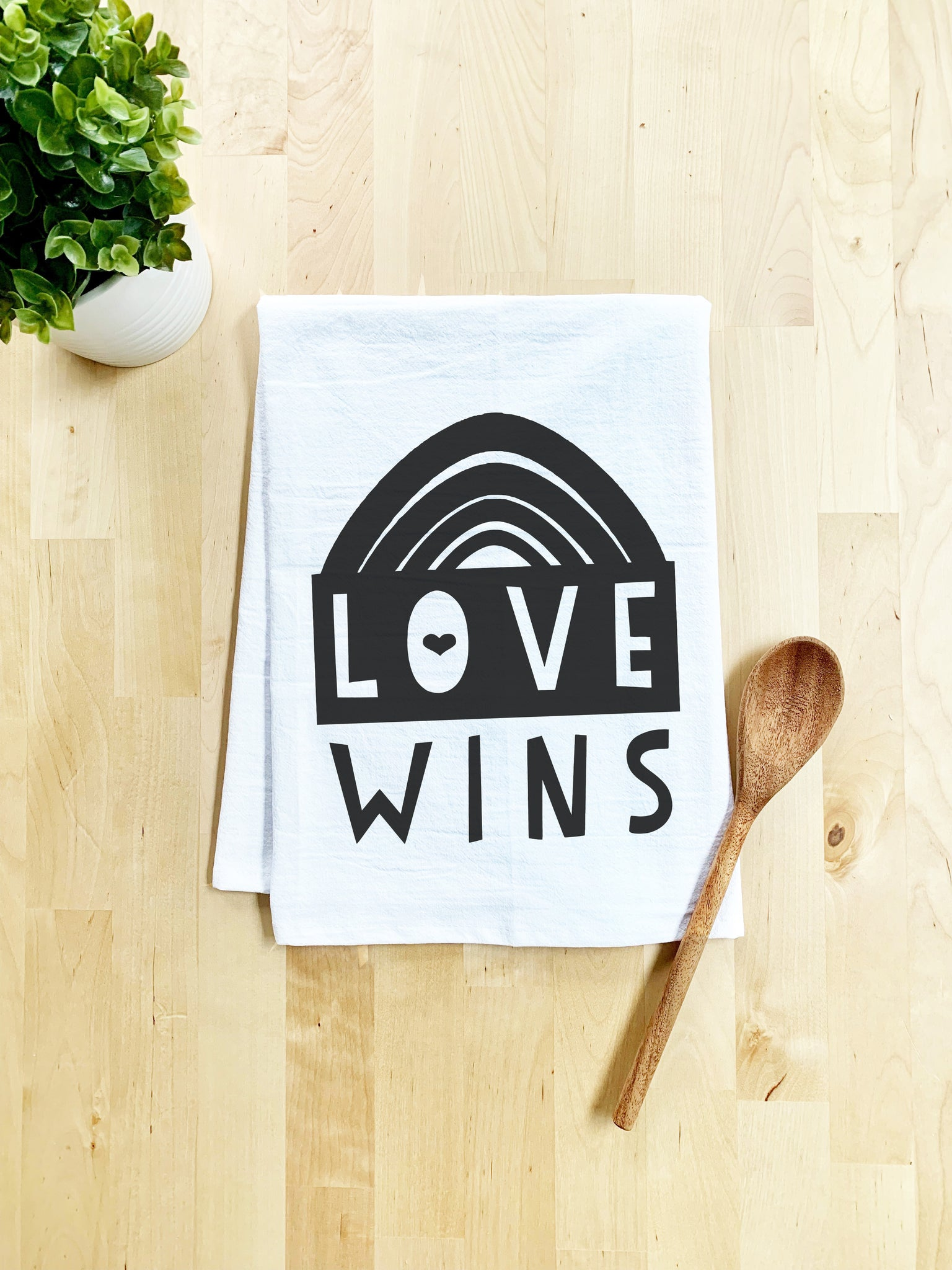 Love Wins Dish Towel - White Or Gray - Black Lives Matter - MoonlightMakers