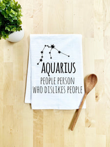 Aquarius (People Person Who Dislikes People) Dish Towel - White Or Gray - MoonlightMakers